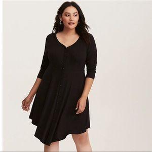 Torrid Black V-Hem Knit Button Designs Dress